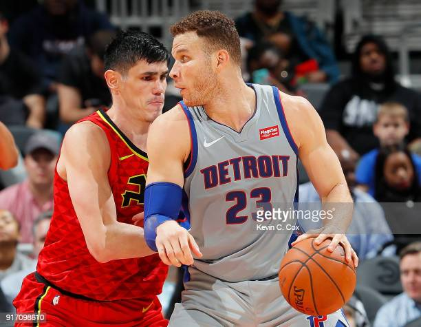 Blake Griffin of the Detroit Pistons looks to drive against Ersan Ilyasova of the Atlanta Hawks at Philips Arena on February 11 2018 in Atlanta...