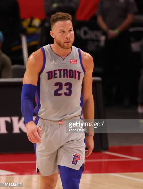 Blake Griffin of the Detroit Pistons looks to the sidelines during the third quarter of the game against the Indiana Pacers at Little Caesars Arena...