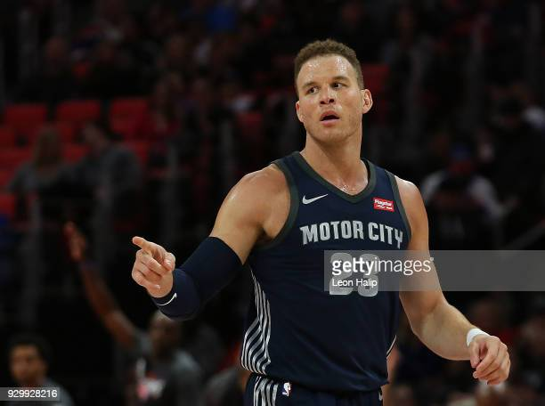 Blake Griffin of the Detroit Pistons looks to the sidelines during the second half of the game against the Chicago Bulls at Little Caesars Arena on...