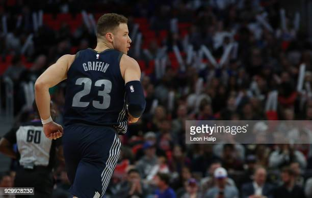 Blake Griffin of the Detroit Pistons looks to the sidelines during the first half of the game against the Chicago Bulls at Little Caesars Arena on...