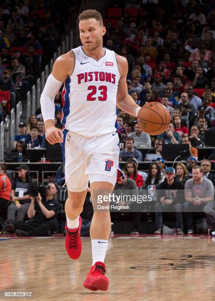 Blake Griffin of the Detroit Pistons moves the ball up court against the Toronto Raptors in the first half of an NBA game at Little Caesars Arena on...