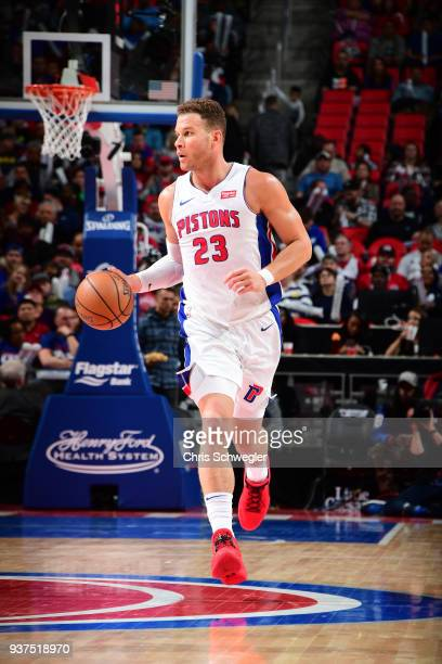 Blake Griffin of the Detroit Pistons moves up the court during the game against the Chicago Bulls on March 24 2018 at Little Caesars Arena in Auburn...