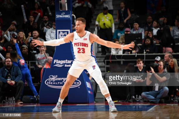 Blake Griffin of the Detroit Pistons on guard against the Minnesota Timberwolves on November 11, 2019 at Little Caesars Arena in Detroit, Michigan....