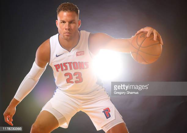 Blake Griffin of the Detroit Pistons poses for a portrait during the Detroit Pistons Media Day at Pistons Practice Facility on September 30 2019 in...