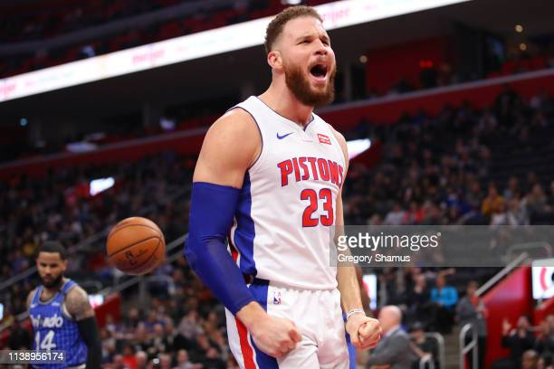 Blake Griffin of the Detroit Pistons reacts after a second half basket while playing the Orlando Magic at Little Caesars Arena on March 28 2019 in...