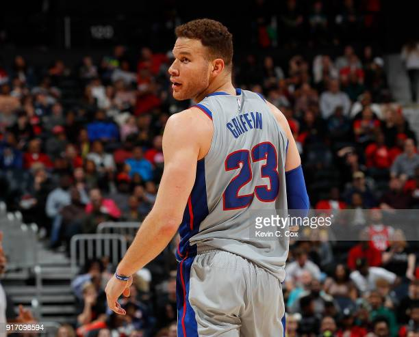 Blake Griffin of the Detroit Pistons reacts during the game against the Atlanta Hawks at Philips Arena on February 11 2018 in Atlanta Georgia NOTE TO...
