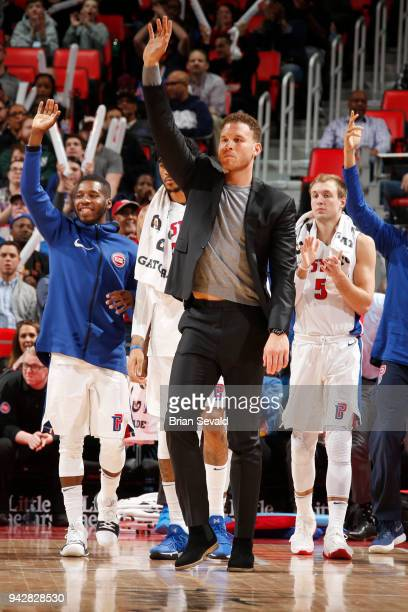 Blake Griffin of the Detroit Pistons reacts during the game against the Dallas Mavericks on April 6 2018 at Little Caesars Arena in Detroit Michigan...
