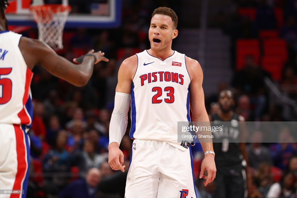 Blake Griffin #23 of the Detroit Pistons reacts to a basket while playing the Brooklyn Nets at Little Caesars Arena on February 7, 2018 in Detroit, Michigan. Detroit won the game 115-106.