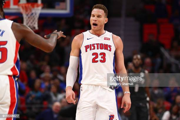 Blake Griffin of the Detroit Pistons reacts to a basket while playing the Brooklyn Nets at Little Caesars Arena on February 7 2018 in Detroit...