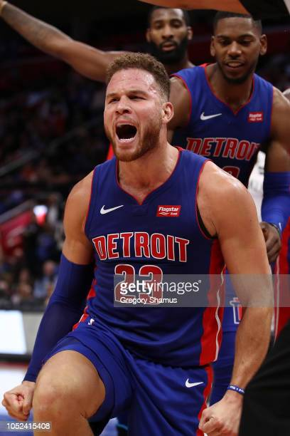 Blake Griffin of the Detroit Pistons reacts to a fourth quarter play while playing the Brooklyn Nets during the home opener at Little Caesars Arena...