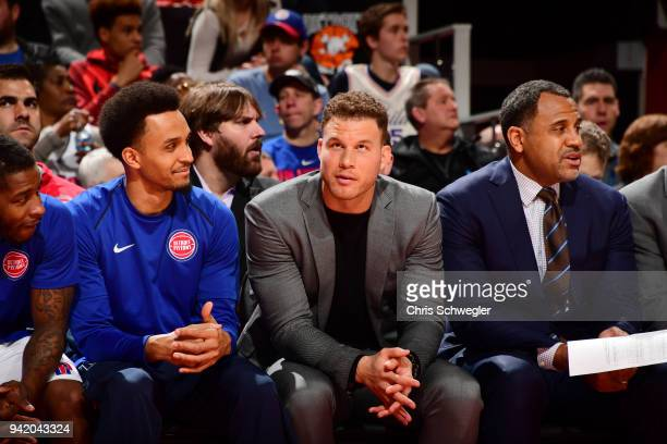 Blake Griffin of the Detroit Pistons reacts to a play from courtside during the game against the Philadelphia 76ers on April 4 2018 at Little Caesars...