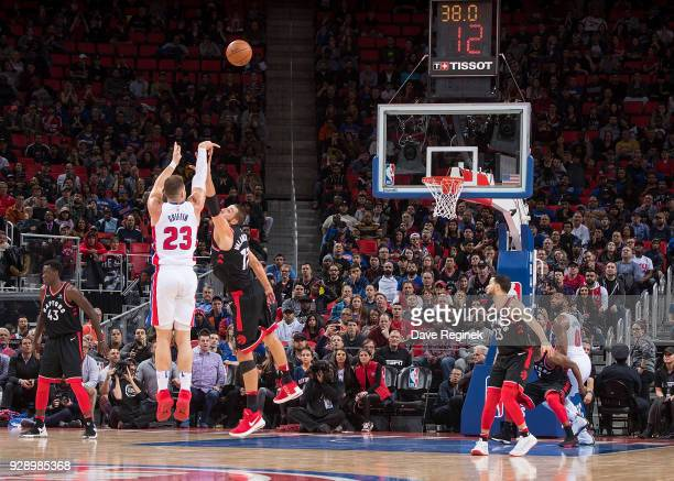 Blake Griffin of the Detroit Pistons shoots a three point shot to tie the game late in O.T. Against the Toronto Raptors during an NBA game at Little...