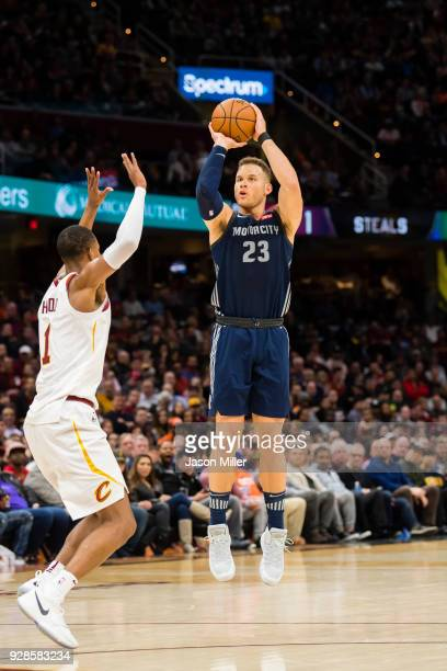 Blake Griffin of the Detroit Pistons shoots over Rodney Hood of the Cleveland Cavaliers during the first half at Quicken Loans Arena on March 5 2018...