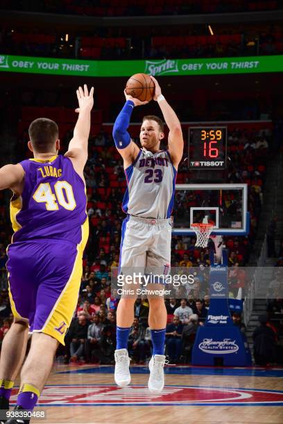 Blake Griffin of the Detroit Pistons shoots the ball against the Los Angeles Lakers on March 26 2018 at Little Caesars Arena in Detroit Michigan NOTE...