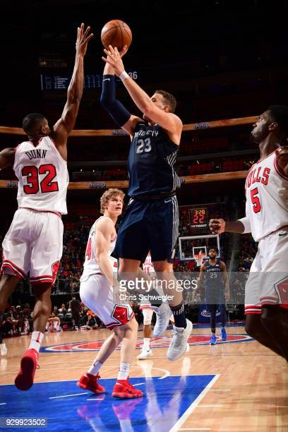 Blake Griffin of the Detroit Pistons shoots the ball against the Chicago Bulls on March 9 2018 at Little Caesars Arena in Detroit Michigan NOTE TO...