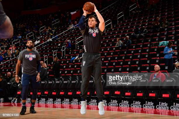 Blake Griffin of the Detroit Pistons shoots the ball before the game against the Chicago Bulls on March 9 2018 at Little Caesars Arena in Detroit...