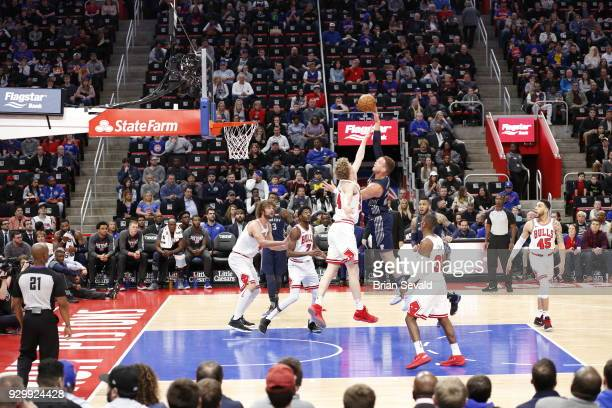 Blake Griffin of the Detroit Pistons shoots the ball during the game against the Chicago Bulls on MARCH 9 2018 at Little Caesars Arena in Detroit...