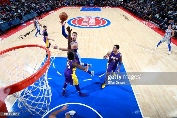 Blake Griffin of the Detroit Pistons shoots the ball during the game against the Los Angeles Lakers on March 26 2018 at Little Caesars Arena in...