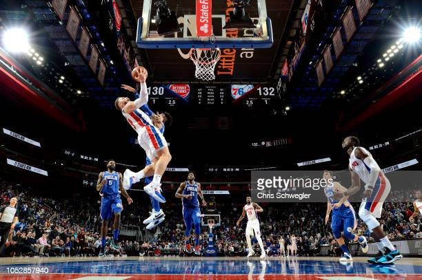Blake Griffin of the Detroit Pistons shoots the game winning shot that leads him to a free throw shot against the Detroit Pistons on October 23, 2018...
