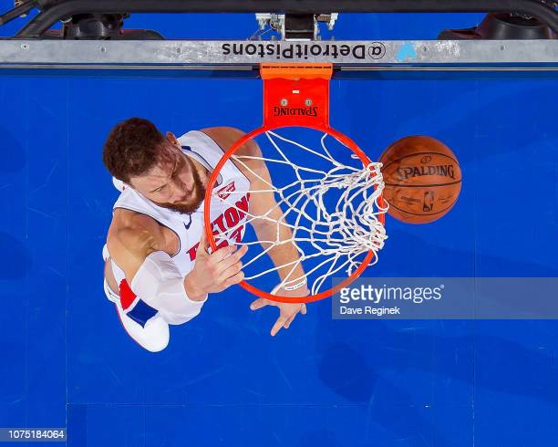 Blake Griffin of the Detroit Pistons slam dunks the ball against the Washington Wizards in the second half of an NBA game at Little Caesars Arena on...