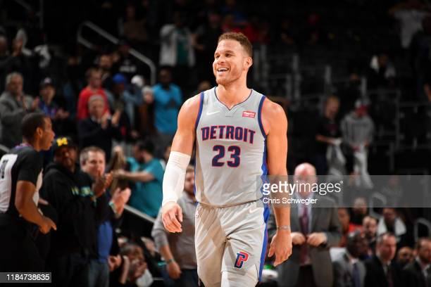 Blake Griffin of the Detroit Pistons smiles during the game against the Orlando Magic on November 25, 2019 at Little Caesars Arena in Detroit,...