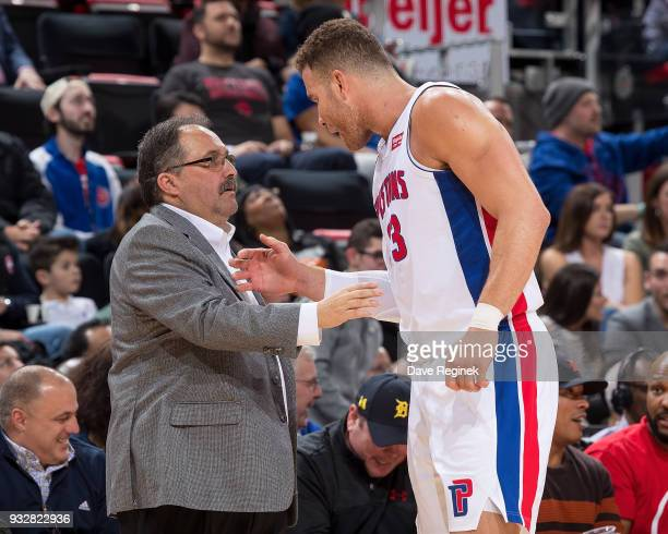 Blake Griffin of the Detroit Pistons talks to Head coach Stan Van Gundy in the first half of an NBA game against the Toronto Raptors at Little...