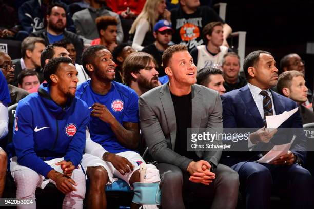 Blake Griffin of the Detroit Pistons with his teammates react to a play from courtside during the game against the Philadelphia 76ers on April 4 2018...
