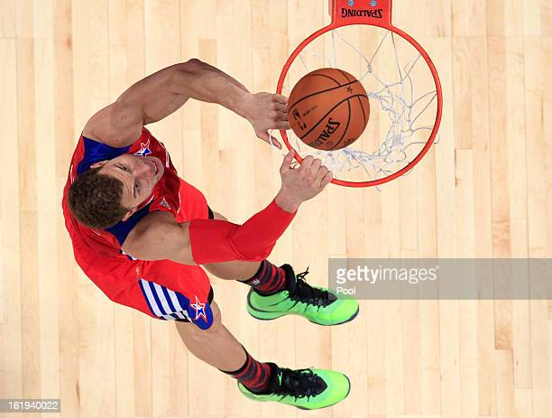 Blake Griffin of the Los Angeles Clippers and the Western Conference dunks the ball during the 2013 NBA AllStar game at the Toyota Center on February...