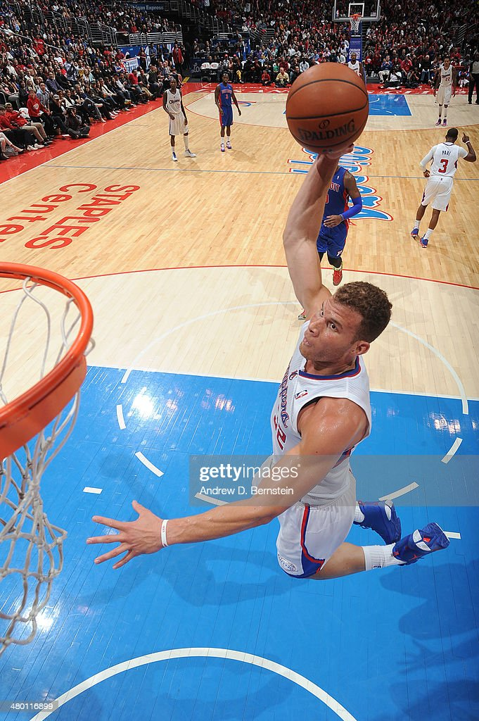 Blake Griffin #32 of the Los Angeles Clippers attempts a dunk during a game against the Detroit Pistons at STAPLES Center on March 22, 2014 in Los Angeles, California.