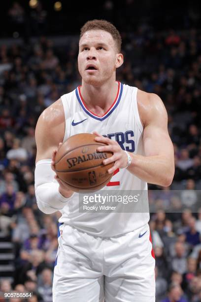 Blake Griffin of the Los Angeles Clippers attempts a freethrow shot against the Sacramento Kings on January 11 2018 at Golden 1 Center in Sacramento...