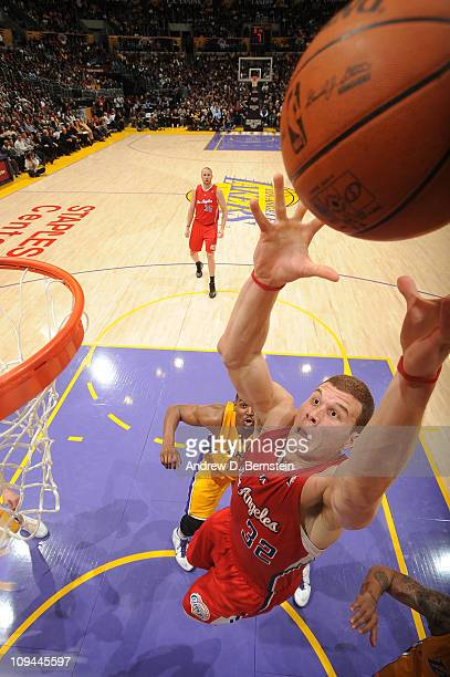Blake Griffin of the Los Angeles Clippers attempts an alleyoop dunk against the Los Angeles Lakers at Staples Center on February 25 2011 in Los...