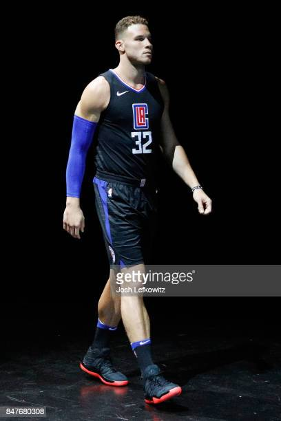 Blake Griffin of the Los Angeles Clippers debuts the new jersey during the unveiling of the New NBA Partnership with Nike on September 15 2017 in Los...