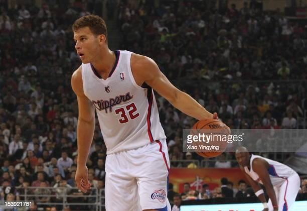 Blake Griffin of the Los Angeles Clippers drives to the basket during the preseason game against the Miami Heat as part of the 2012 NBA China Games...