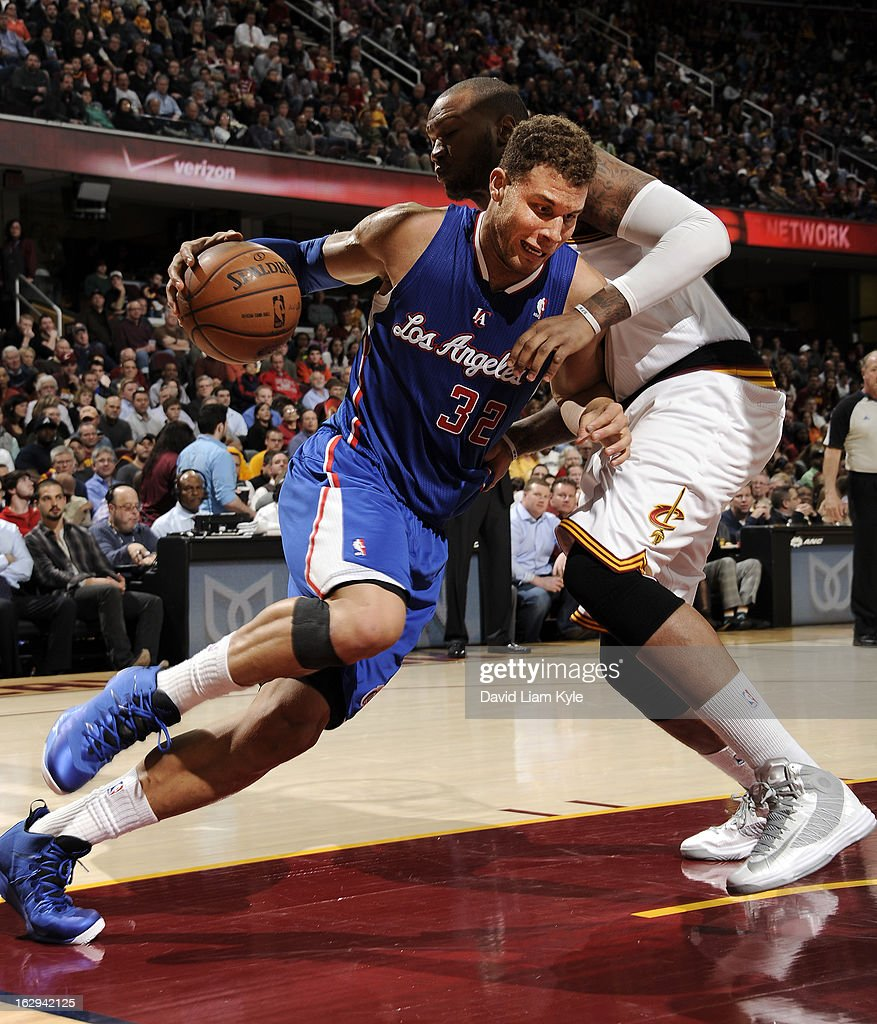 Blake Griffin #32 of the Los Angeles Clippers drives to the basket against Marreese Speights #15 of the Cleveland Cavaliers at The Quicken Loans Arena on March 1, 2013 in Cleveland, Ohio.