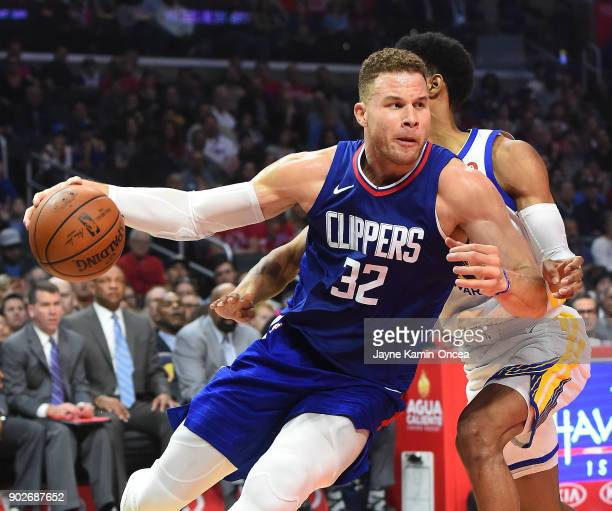 Blake Griffin of the Los Angeles Clippers drives to the basket past Patrick McCaw of the Golden State Warriors in the first half of the game on...