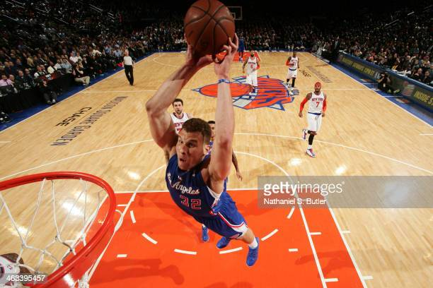 Blake Griffin of the Los Angeles Clippers dunks during a game against the New York Knicks during a game at Madison Square Garden in New York City on...