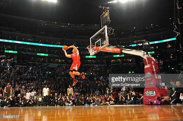 Blake Griffin of the Los Angeles Clippers dunks during the Sprite Slam Dunk Contest as part of the 2011 AllStar Saturday Night presented by State...