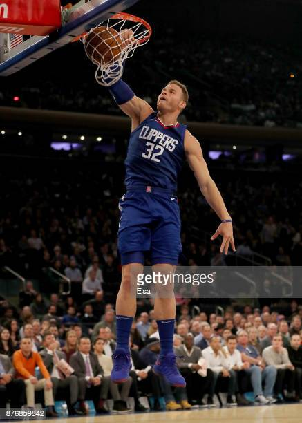 Blake Griffin of the Los Angeles Clippers dunks in the first quarter against the New York Knicks at Madison Square Garden on November 20 2017 in New...