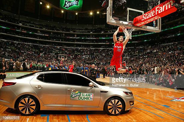 Blake Griffin of the Los Angeles Clippers dunks over a Kia during the Sprite Slam Dunk Contest as part of 2011 NBA AllStar Saturday Night presented...