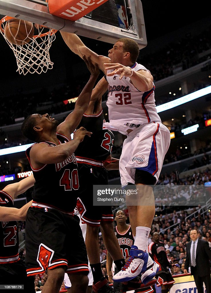 Blake Griffin #32 of the Los Angeles Clippers dunks over Kurt Thomas #40 of the Chicago Bulls at Staples Center on February 2, 2011 in Los Angeles, California. The Bulls won 106-88.