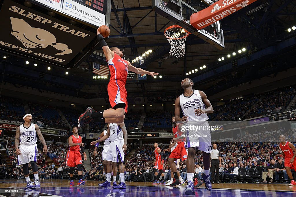 Blake Griffin #32 of the Los Angeles Clippers dunks the ball against the Sacramento Kings on March 19, 2013 at Sleep Train Arena in Sacramento, California.