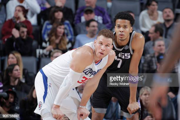 Blake Griffin of the Los Angeles Clippers faces off against Skal Labissiere of the Sacramento Kings on January 11 2018 at Golden 1 Center in...