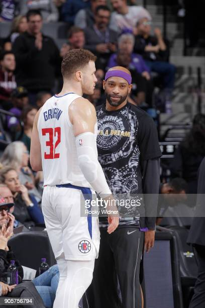 Blake Griffin of the Los Angeles Clippers faces off against Vince Carter of the Sacramento Kings on January 11 2018 at Golden 1 Center in Sacramento...