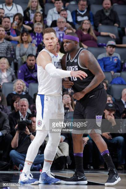 Blake Griffin of the Los Angeles Clippers faces off against Zach Randolph of the Sacramento Kings on January 11 2018 at Golden 1 Center in Sacramento...