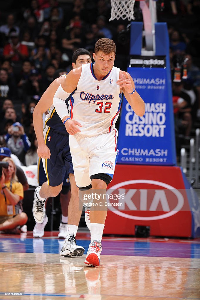 Blake Griffin #32 of the Los Angeles Clippers gestures after making a basket against the Utah Jazz at Staples Center on October 23, 2013 in Los Angeles, California.
