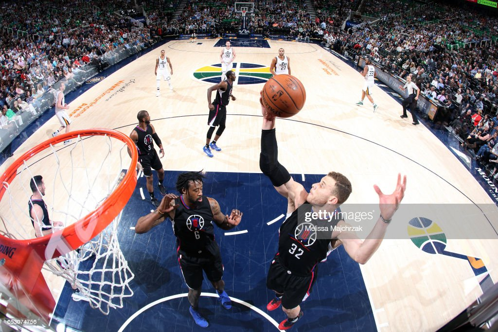 Blake Griffin #32 of the Los Angeles Clippers gets the rebound during the game against the Utah Jazz on March 13, 2017 at EnergySolutions Arena in Salt Lake City, Utah.