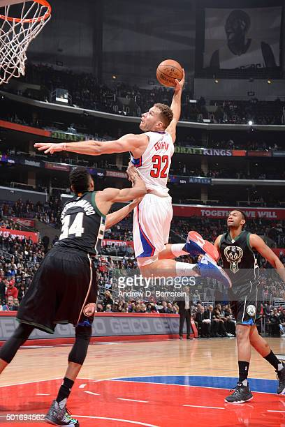 Blake Griffin of the Los Angeles Clippers goes for the dunk against the Milwaukee Bucks during the game on December 16 2015 at STAPLES Center in Los...