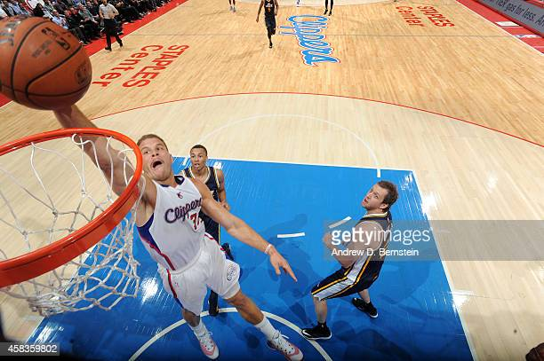 Blake Griffin of the Los Angeles Clippers goes to the basket against the Utah Jazz on November 3 2014 at Staples Center in Los Angeles California...