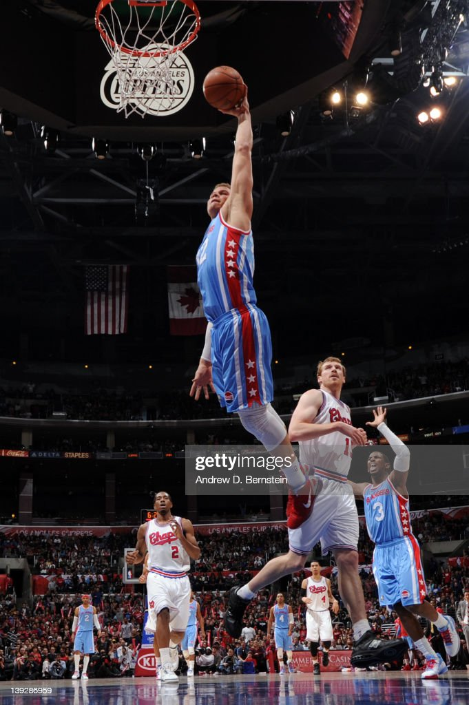 Blake Griffin #32 of the Los Angeles Clippers goes to the basket during the game against the San Antonio Spurs at Staples Center on February 18, 2012 in Los Angeles, California.