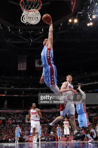 Blake Griffin of the Los Angeles Clippers goes to the basket during the game against the San Antonio Spurs at Staples Center on February 18 2012 in...